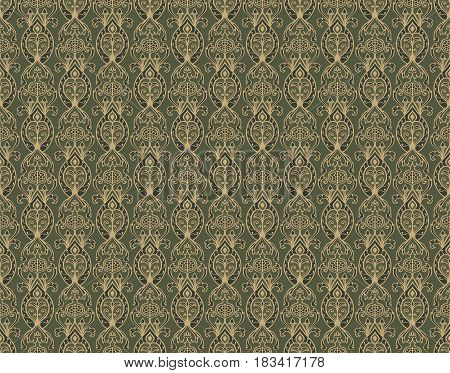 Oriental green pattern with pomegranates. Vector seamless ornament. Old-fashioned wallpaper. Template for the textile.