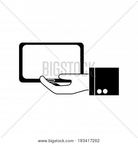 silhouette tablet technology business in the hand, vector illustration design