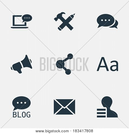 Vector Illustration Set Of Simple Blogging Icons. Elements Post, Gain, Loudspeaker And Other Synonyms Missive, Site And Repair.