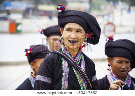 Sa Pa, Vietnam - 15 March, 2017: Portrait of ethnic minority, Black Hmong womans in Sapa, Vietnam