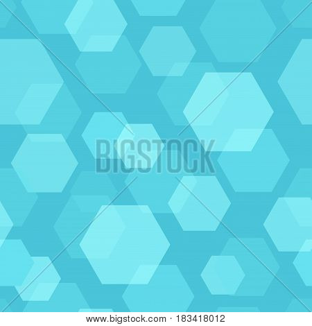 Seamless Pattern on Vector Background with Hexagon in blue color.