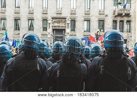 Riot Policemen During The Liberation Day Parade