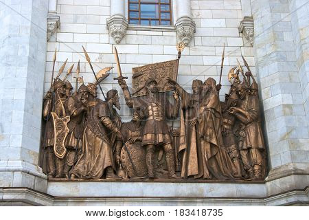 Bronze sculptures on the exterior of the Cathedral of Christ the Saviour Moscow.