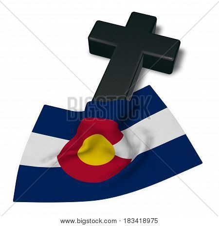 christian cross and flag of colorado - 3d rendering