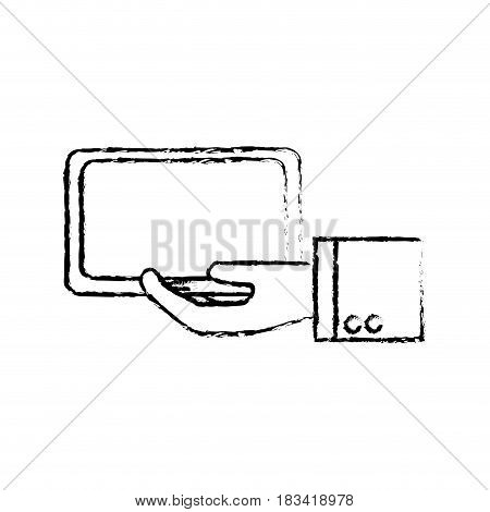 figure tablet technology business in the hand, vector illustration design