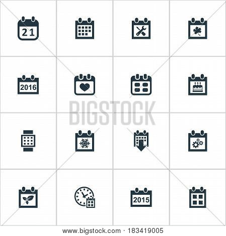 Vector Illustration Set Of Simple Calendar Icons. Elements Agenda, Renovation Tools, Special Day And Other Synonyms Snowflake, Leaf And Agenda.