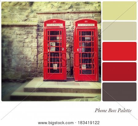 Two British red phone boxes with retro style processing, in a colour palette with complimentary colour swatches.