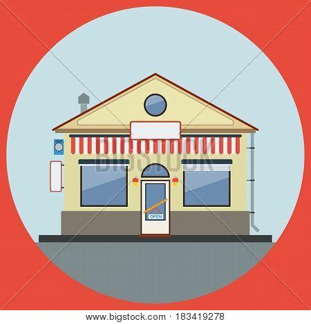 Minimarket building flat design style vector illustration