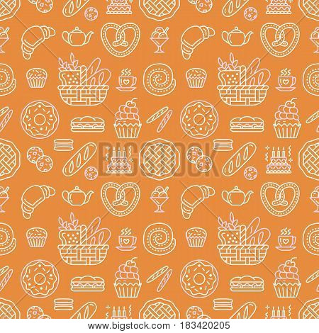 Bakery seamless pattern, food vector background of beige orange color. Confectionery products thin line icons - cake croissant, muffin, pastry, cupcake, pie. Cute repeated illustration for sweet shop.