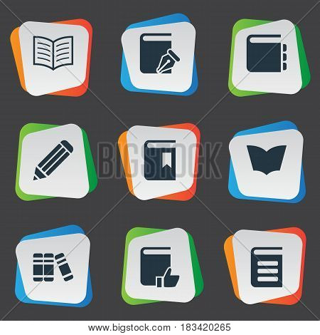 Vector Illustration Set Of Simple Books Icons. Elements Pen, Recommended Reading, Book Cover And Other Synonyms Reading, Favored And Dictionary.