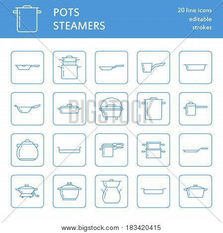 Pot, pan and steamer line icons. Restaurant professional equipment signs. Kitchen utensil - wok, saucepan, eathernware dish. Thin linear signs for commercial cooking store. Outline symbols blue color.