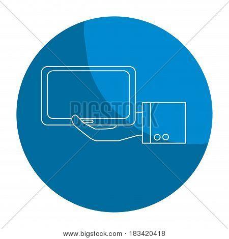 emblem tablet technology business in the hand, vector illustration design