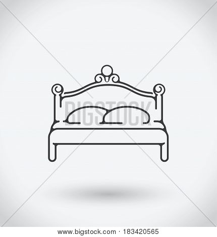 Bed Icon on white background. With shadow.