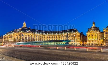 Tram on Place de la Bourse in Bordeaux - France, Gironde poster