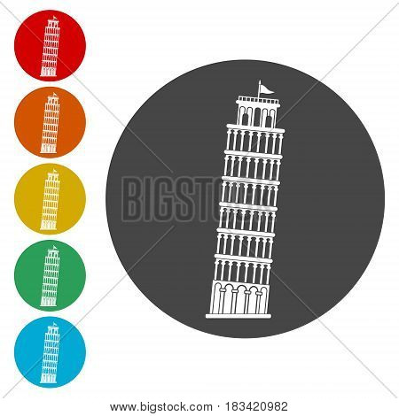 Leaning tower of Pisa icons set, simple vector icon