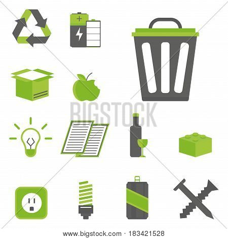 Recycling sorting nature icons waste sorting environment creative flat elements protection symbols. Ecology garbage bio cycle organic separation vector illustration set.
