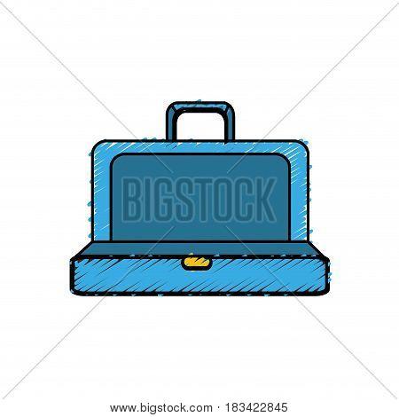 blue elegant suitcase open, vector illustration design