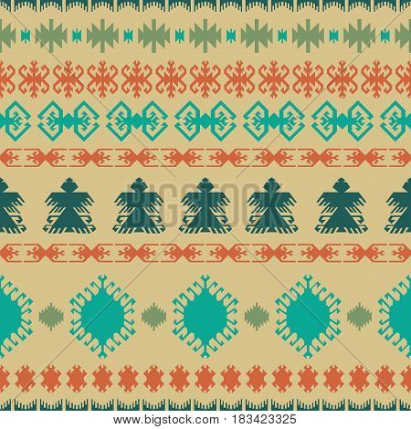 Native American Indian seamless pattern ethnic traditional geometric art with retro vintage design elements and arrows Aztec Inca Navajo tribal style vector illustration background beige green orange