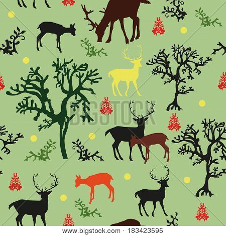 Seamless vector pattern forrest: with black red brown and yellow deers and black green trees on green background