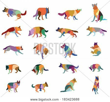 Set vector mosaic silhouettes of colorful dogs (German shepherd dog) cut out on white background