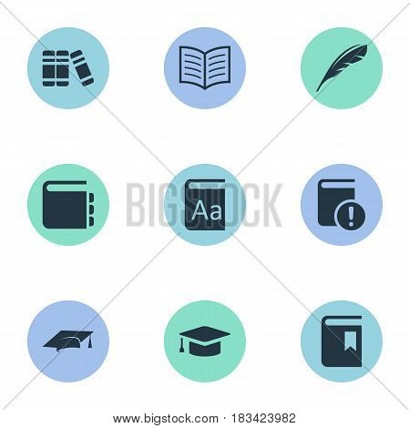 Vector Illustration Set Of Simple Education Icons. Elements Alphabet, Journal, Book Cover And Other Synonyms Bookshelf, Bookmark And Literature.