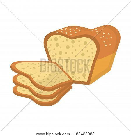 delicious fresh bakery slice bread and loaf, vector illustration