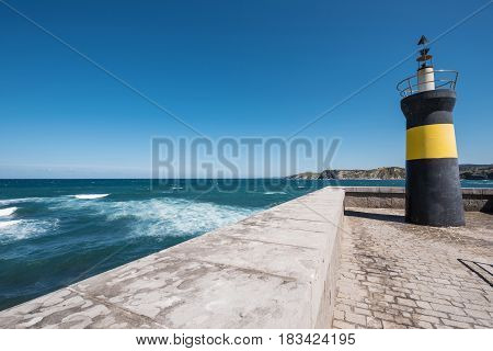 Lighthouse in Comillas port Cantabria Spain .