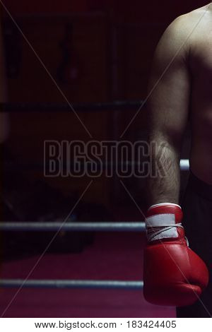 muscular professional kick boxer resting on the ropes in the corner of the ring while training for the next match with a focus on his glove