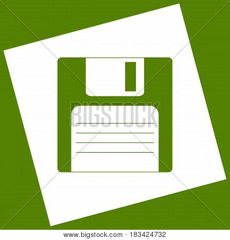 Floppy disk sign. Vector. White icon obtained as a result of subtraction rotated square and path. Avocado background.