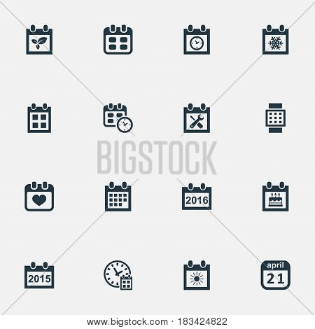Vector Illustration Set Of Simple Time Icons. Elements Annual, Snowflake, Special Day And Other Synonyms Winter, Calendar And April.