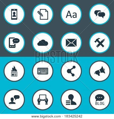 Vector Illustration Set Of Simple User Icons. Elements Gossip, Site, Post And Other Synonyms Share, Post And Conversation.