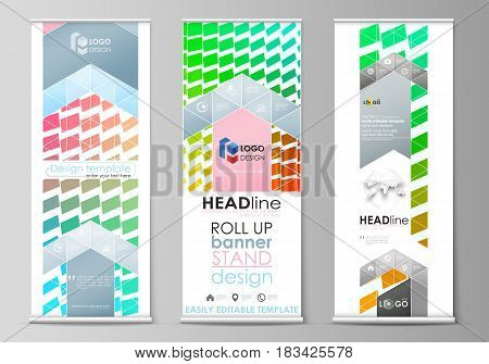 Set of roll up banner stands, flat design templates, abstract geometric style, modern business concept, corporate vertical vector flyers, flag layouts. Colorful rectangles, moving dynamic shapes forming abstract polygonal style background.