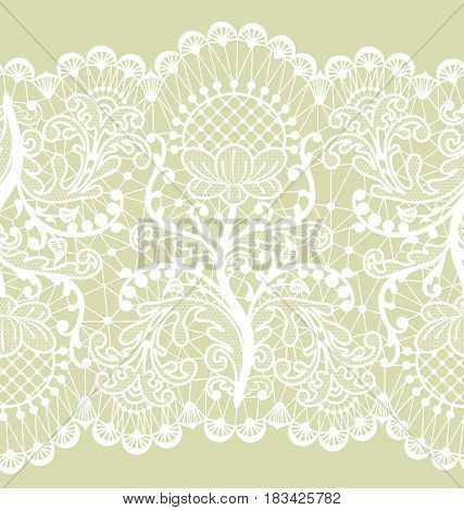 Horizontally seamless floral lace ribbon on green background
