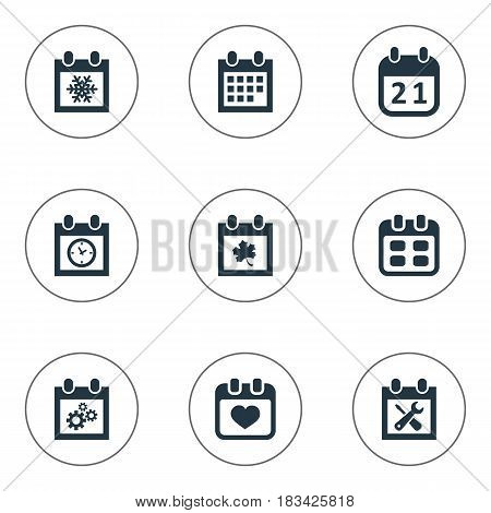 Vector Illustration Set Of Simple Time Icons. Elements Event, Agenda, Planner And Other Synonyms Leaf, Repair And Snowflake.