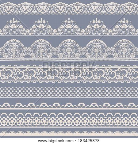 Horizontally seamless floral lace pattern on gray background