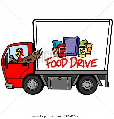 A vector illustration of a Food Drive Truck.
