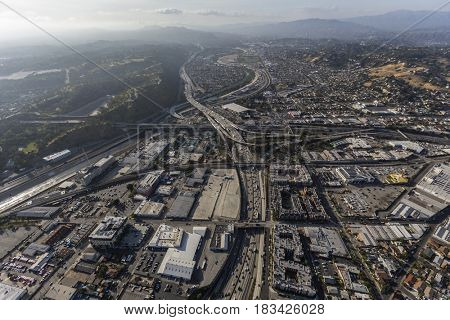 Aerial view of the Golden State 5 Freeway in the Lincoln Heights community of Los Angeles, California.