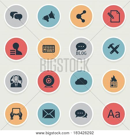 Vector Illustration Set Of Simple Blogging Icons. Elements Gossip, Site, Argument And Other Synonyms Cedilla, Loudspeaker And Speech.