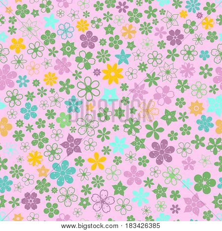Seamless Pattern Of Small Flowers