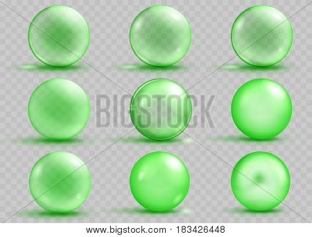 Set of transparent and opaque green spheres with shadows and glares on transparent background. Transparency only in vector file