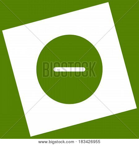 Negative symbol illustration. Minus sign. Vector. White icon obtained as a result of subtraction rotated square and path. Avocado background.