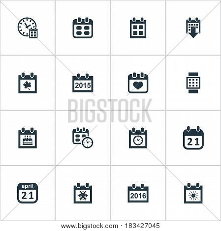 Vector Illustration Set Of Simple Date Icons. Elements Annual, Date, Agenda And Other Synonyms Planner, Data And Heart.