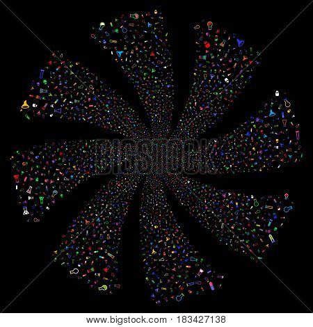 Chemistry Tubes fireworks swirl rotation. Vector illustration style is flat bright multicolored iconic symbols on a black background. Object whirl combined from random icons.