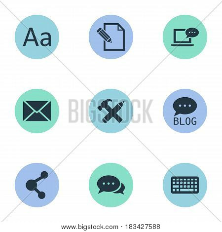 Vector Illustration Set Of Simple Blogging Icons. Elements Cedilla, Laptop, Argument And Other Synonyms Negotiation, Keyboard And Message.