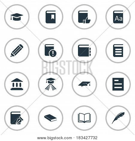 Vector Illustration Set Of Simple Reading Icons. Elements Blank Notebook, Academic Cap, Pen And Other Synonyms School, Dictionary And Cap.