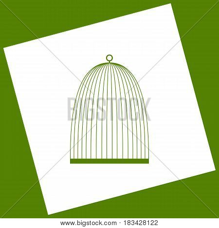 Bird cage sign. Vector. White icon obtained as a result of subtraction rotated square and path. Avocado background.