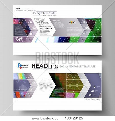 Business templates in HD format for presentation slides. Easy editable abstract vector layouts in flat design. Glitched background made of colorful pixel mosaic. Digital decay, signal error, television fail.