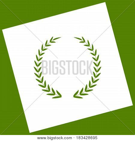 Laurel Wreath sign. Vector. White icon obtained as a result of subtraction rotated square and path. Avocado background.