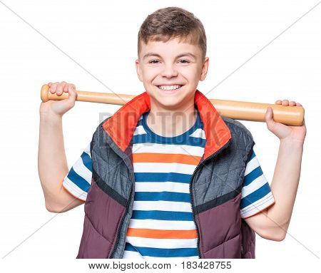 Portrait of a handsome boy teenager holding baseball bat. Funny cute smiling child looking at camera, isolated on white background.