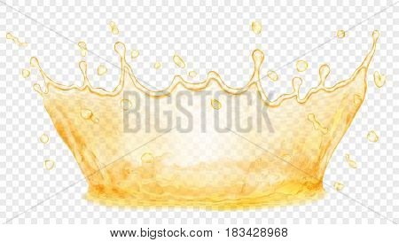 Transparent water crown. Splash of water or oil in yellow colors isolated on transparent background. Transparency only in vector file